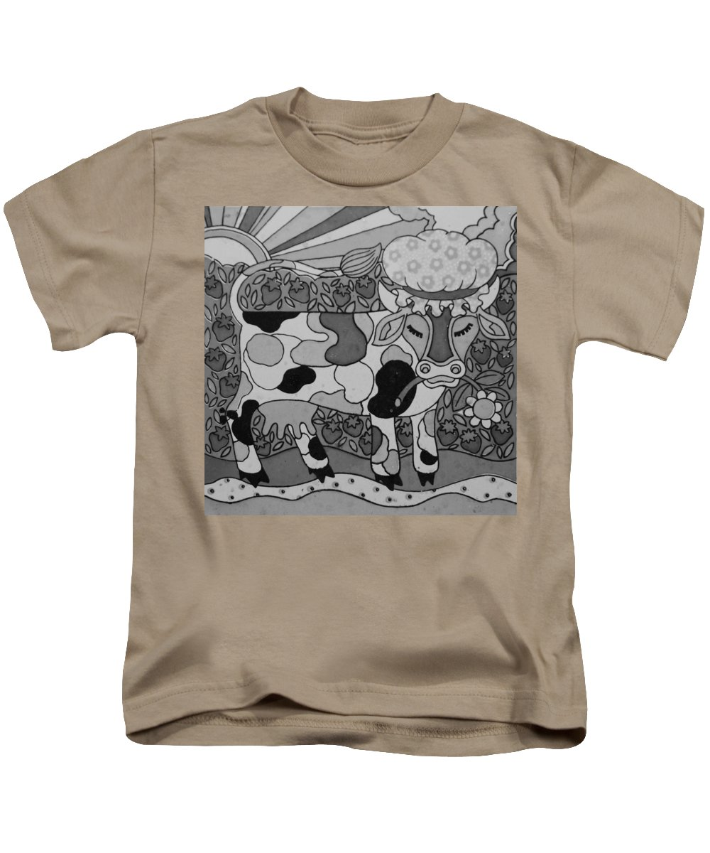 Pop Art Kids T-Shirt featuring the photograph Tile Cow by Rob Hans