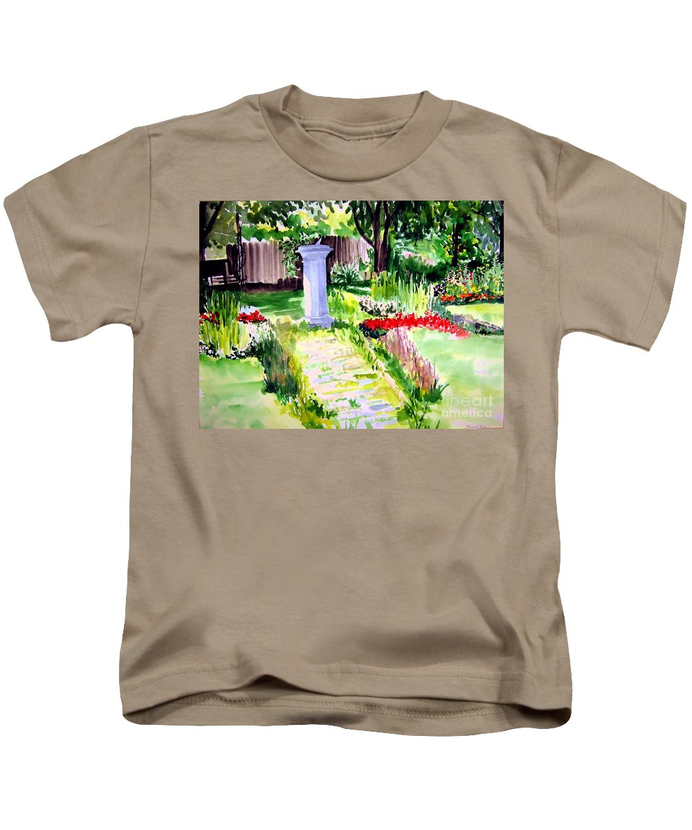 Park Kids T-Shirt featuring the painting Time In A Garden by Sandy Ryan