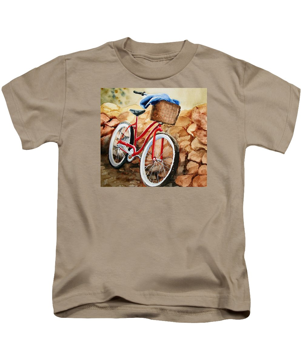 Bicycle Kids T-Shirt featuring the painting Time Out by Karen Stark