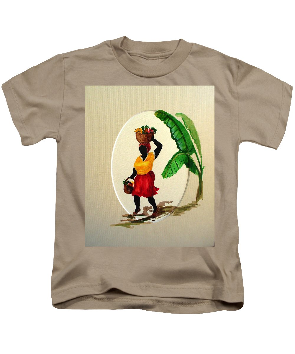 Caribbean Market Womanfruit & Veg Kids T-Shirt featuring the painting To Market by Karin Dawn Kelshall- Best