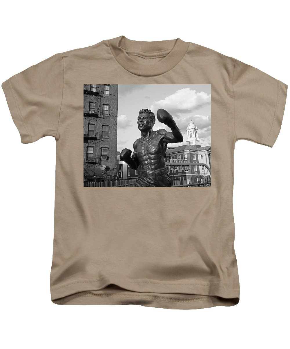Tony Kids T-Shirt featuring the photograph Tony Demarco Boxer Statue North End Boston Ma Sunset Black And White by Toby McGuire