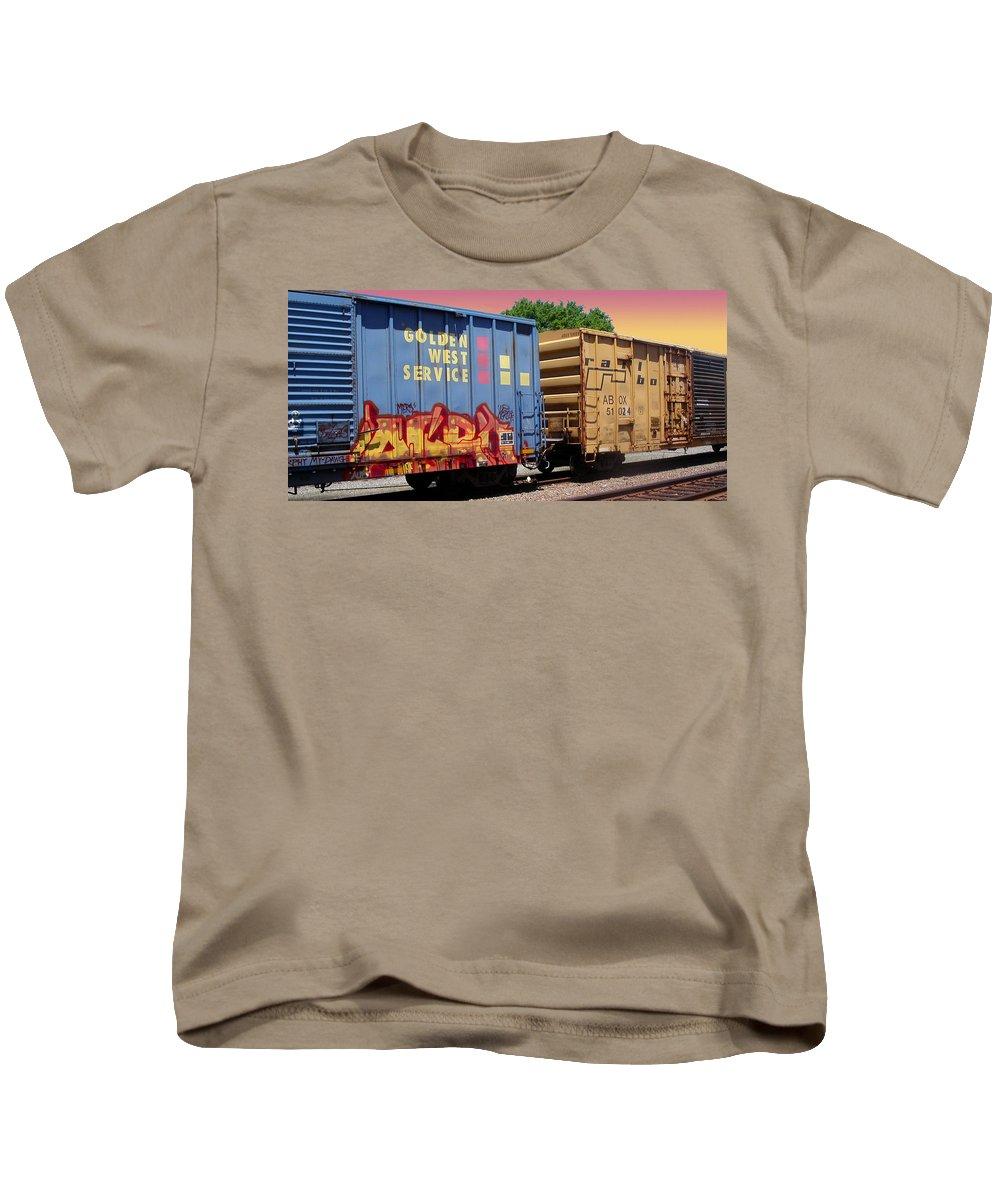 Train Kids T-Shirt featuring the photograph Train Aglow by Anne Cameron Cutri
