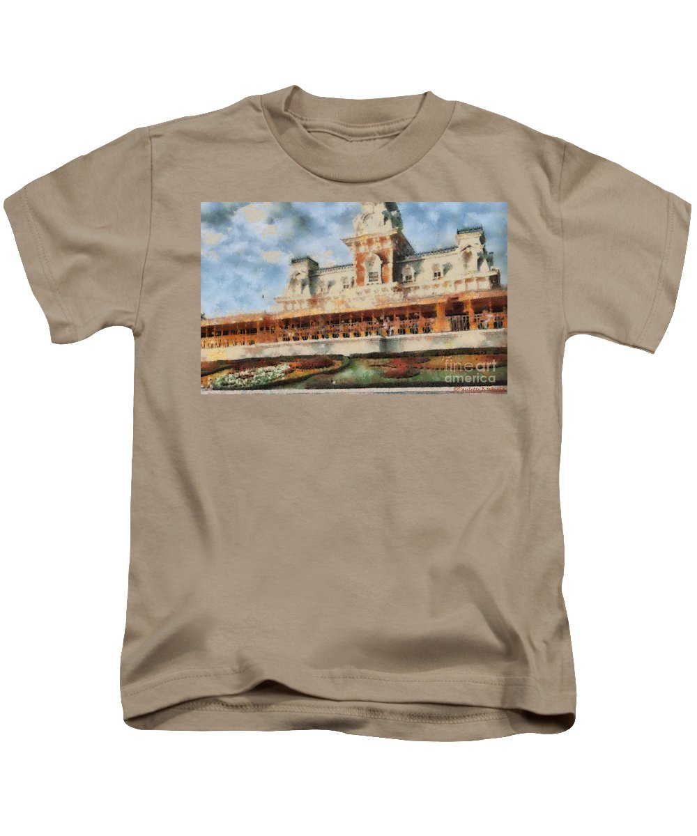 Florida Kids T-Shirt featuring the painting Train Station At Magic Kingdom by Paulette B Wright