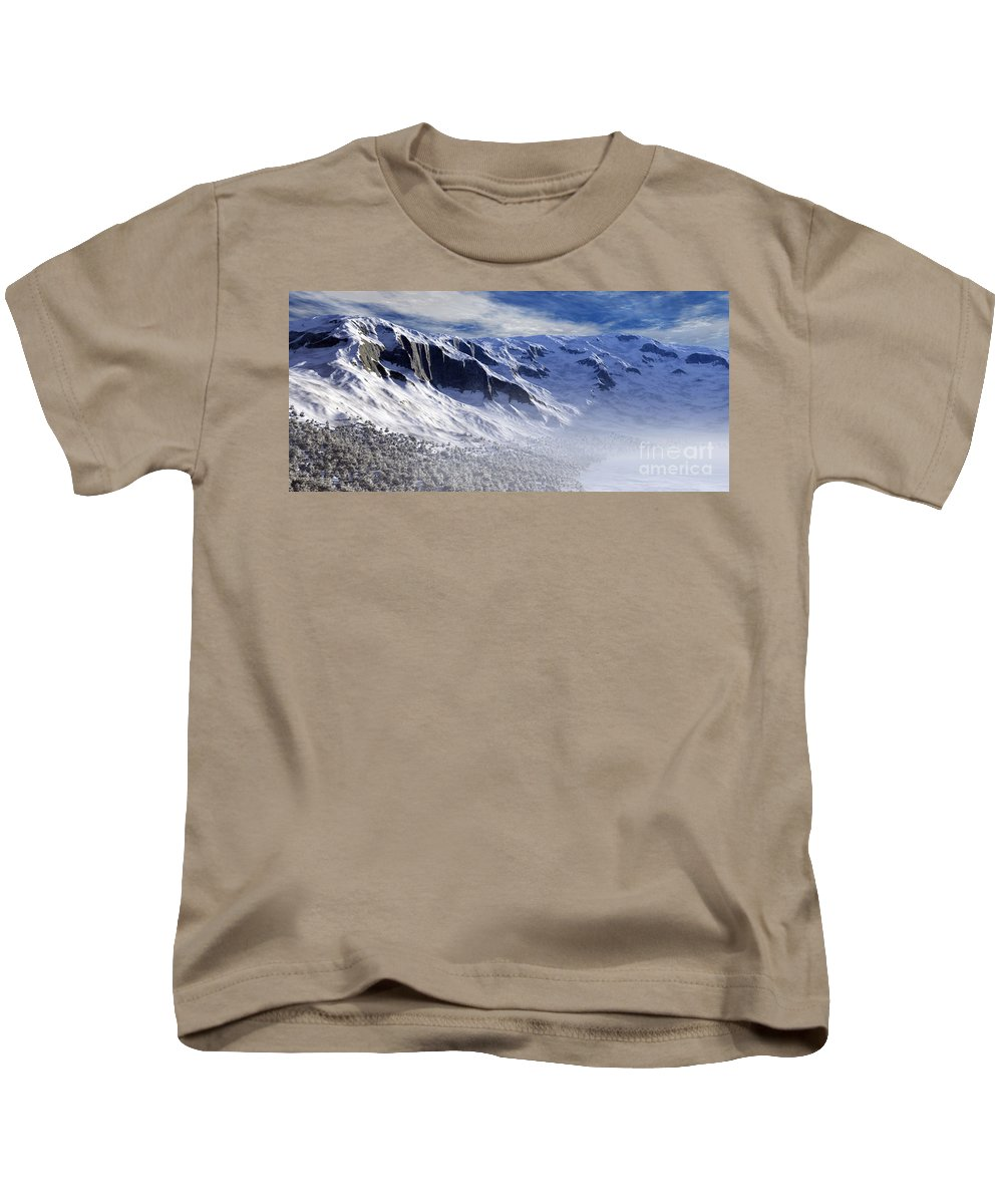 Mountains Kids T-Shirt featuring the digital art Tranquility by Richard Rizzo