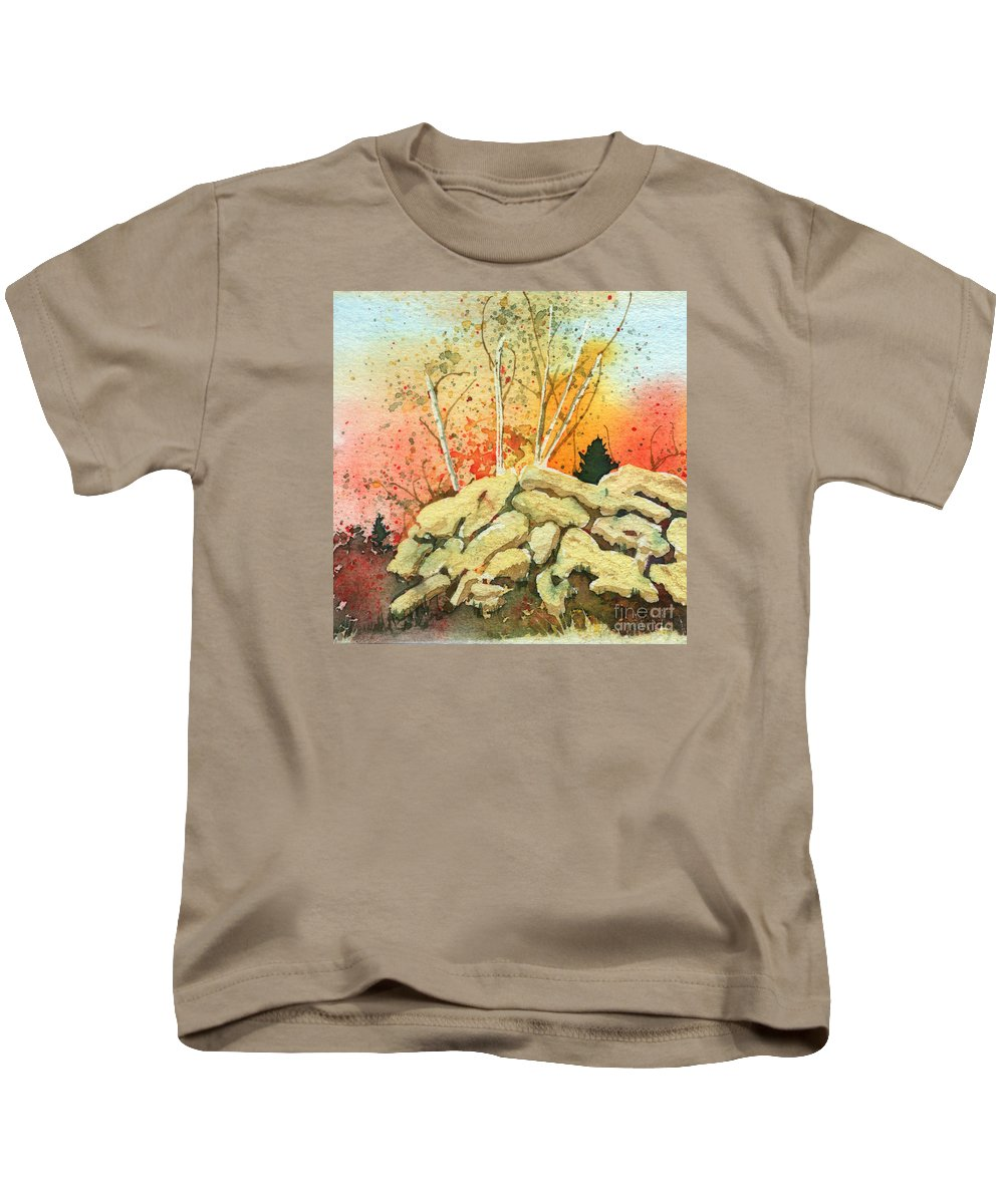 Landscape Kids T-Shirt featuring the painting Triptych Panel 2 by Lynn Quinn