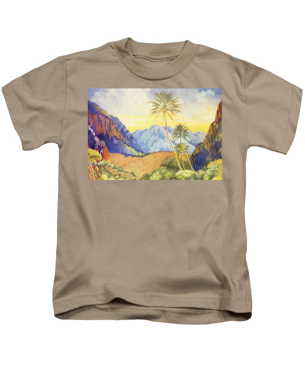 1922 Kids T-Shirt featuring the painting Tropical Vintage Hawaii by Hawaiian Legacy Archive - Printscapes
