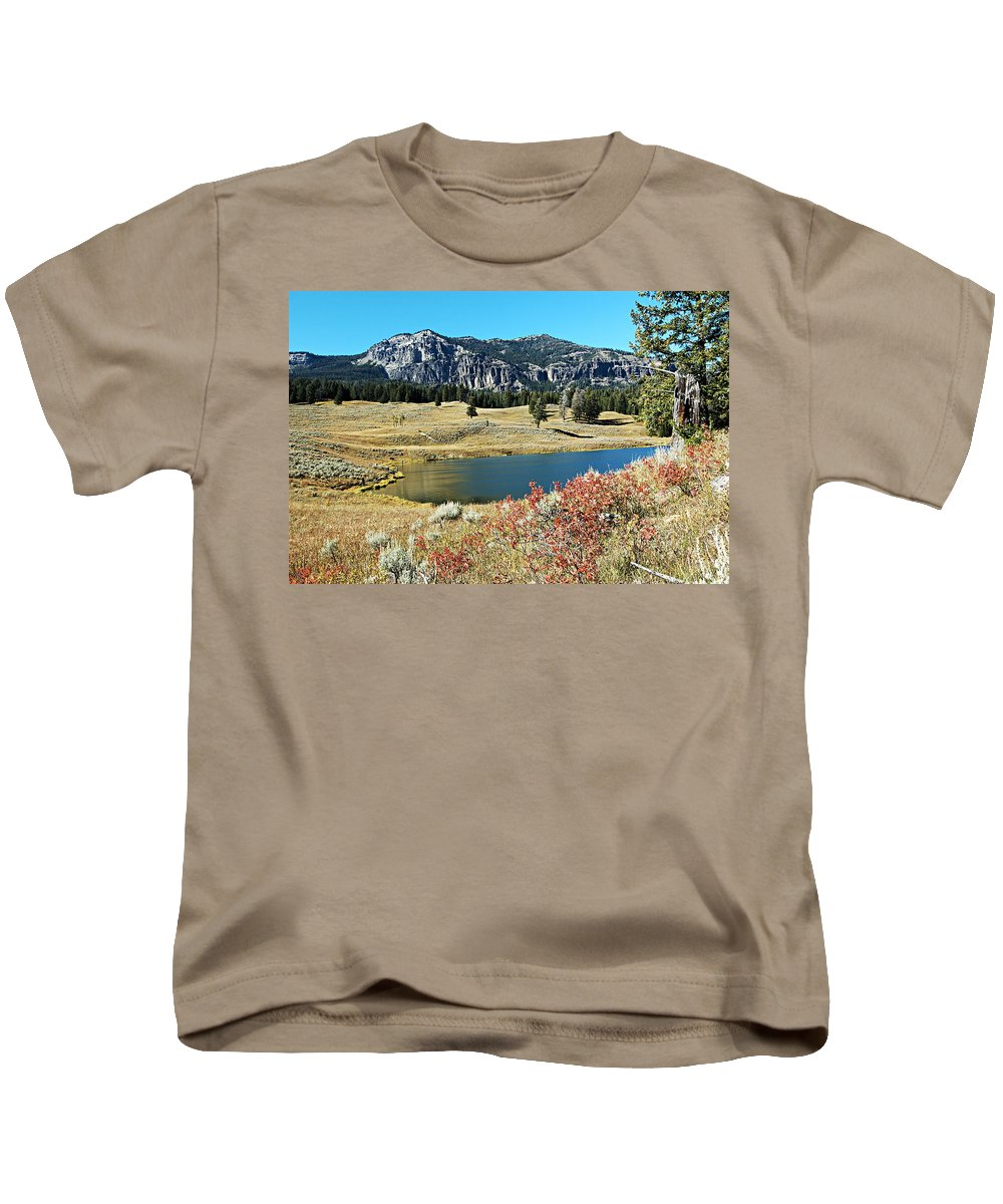 Yellowstone National Park Kids T-Shirt featuring the photograph Trout Lake by Larry Ricker