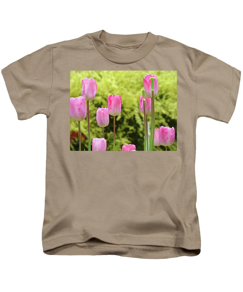 Tulip Kids T-Shirt featuring the photograph Tulip Garden Landscape Art Prints Pink Tulips Floral Baslee Troutman by Baslee Troutman