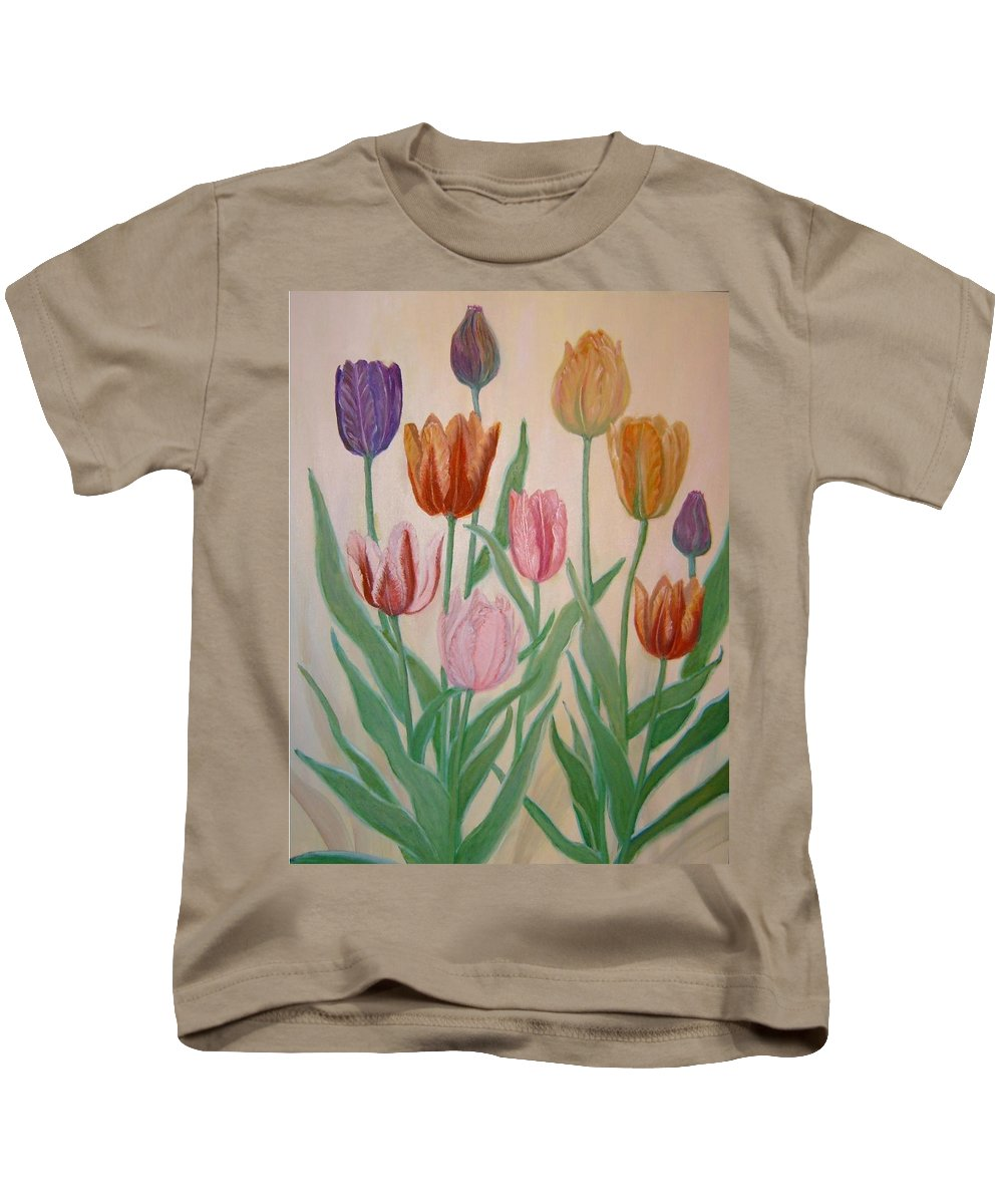 Flowers Of Spring Kids T-Shirt featuring the painting Tulips by Ben Kiger