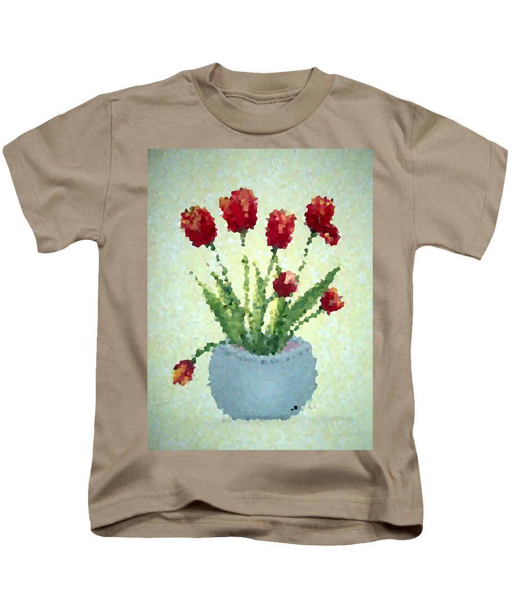 Tulips Digital Art Kids T-Shirt featuring the digital art Tulips I by Barbara Griffin