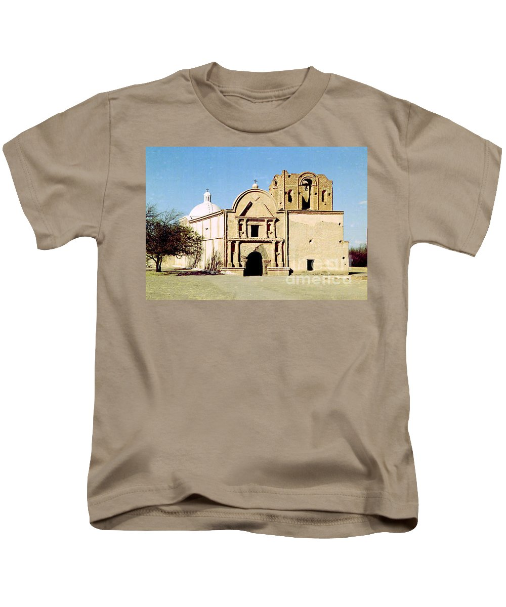 Mission Kids T-Shirt featuring the photograph Tumacacori by Kathy McClure