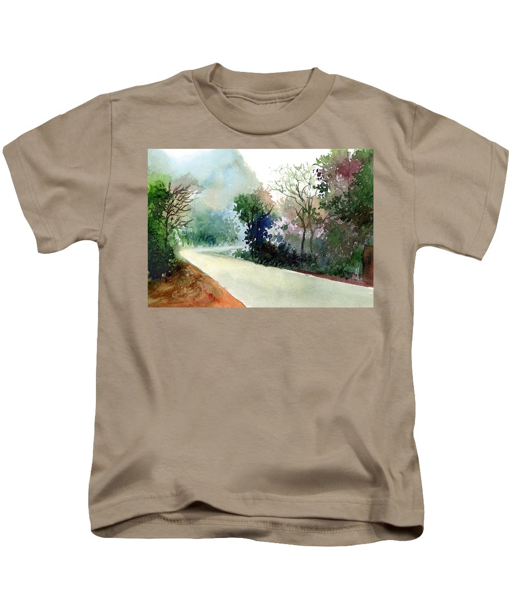 Landscape Water Color Nature Greenery Light Pathway Kids T-Shirt featuring the painting Turn Right by Anil Nene