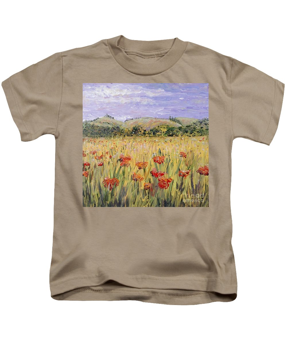 Poppies Kids T-Shirt featuring the painting Tuscany Poppies by Nadine Rippelmeyer