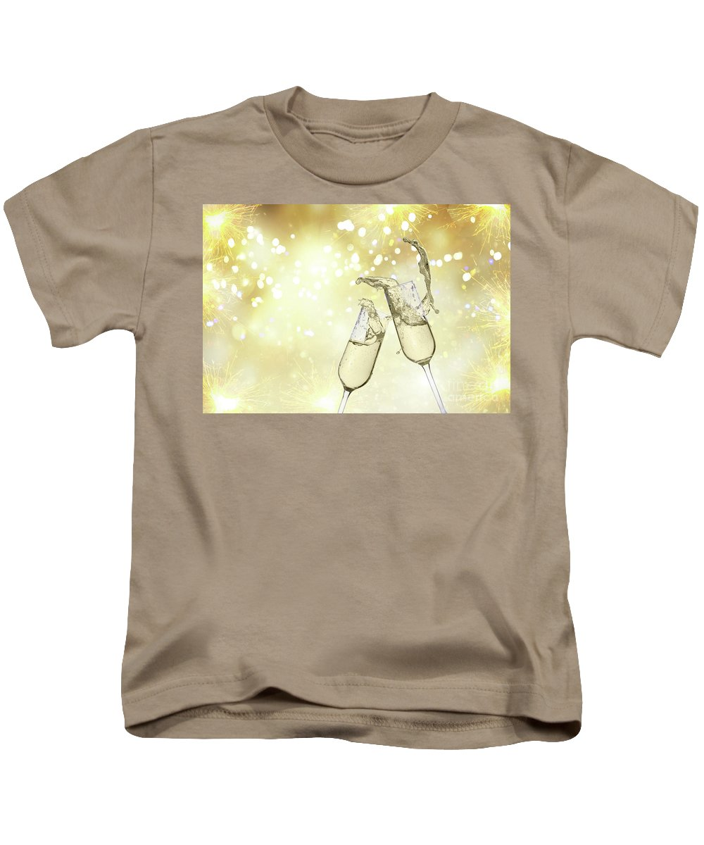 Champagne Kids T-Shirt featuring the photograph Toast Champagne Glasses by Anastasy Yarmolovich