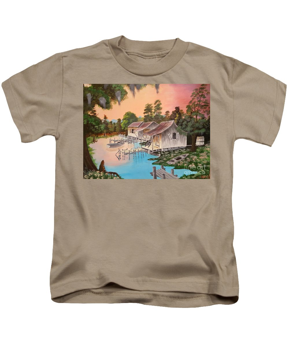 Landscape Kids T-Shirt featuring the painting Bayou Blue by Nicolas Avet