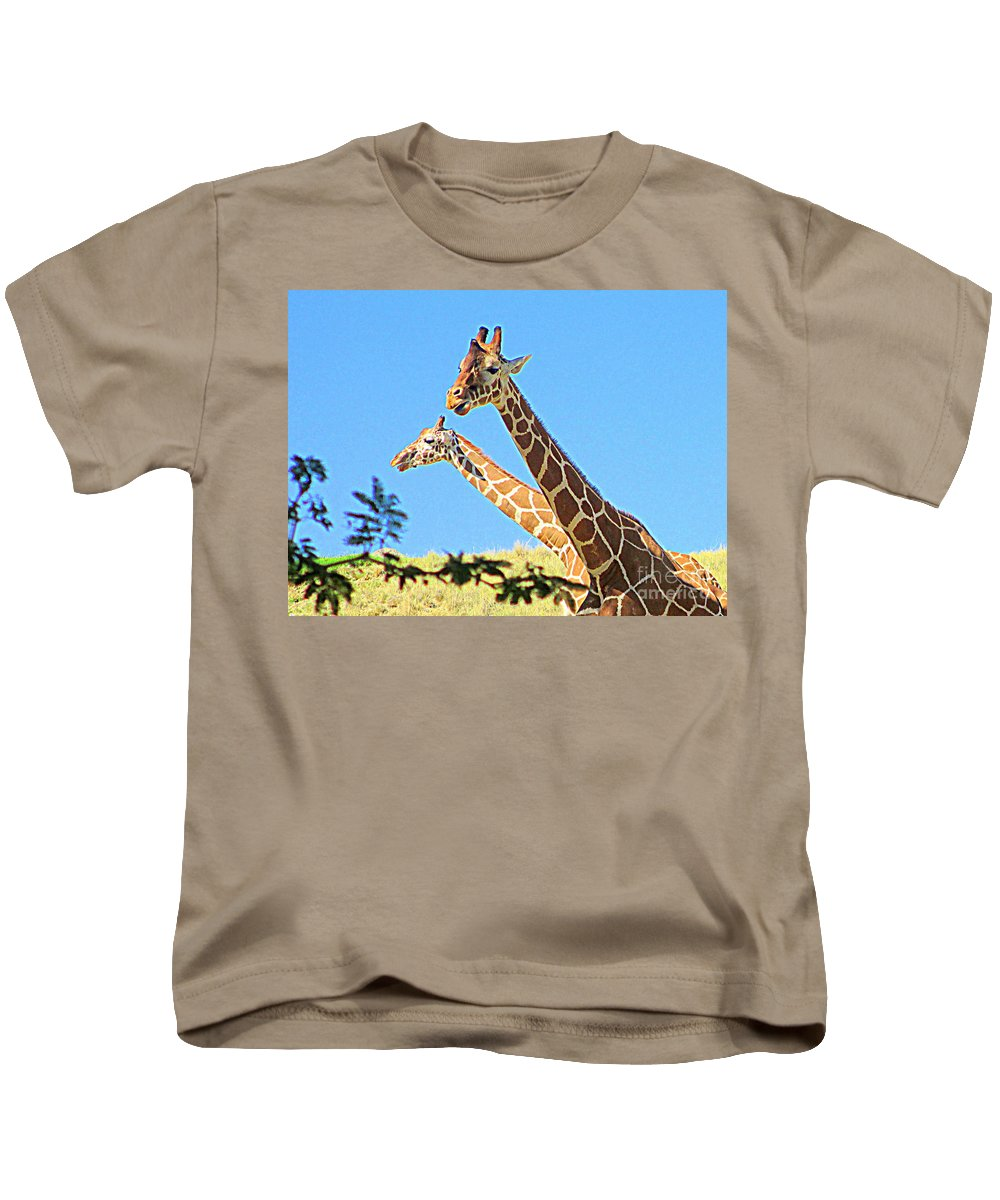 Giraffe Kids T-Shirt featuring the photograph Two Heads Are Better Than One by Randall Weidner