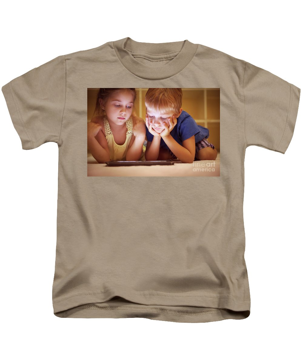 Animated Kids T-Shirt featuring the photograph Two Little Kids by Anna Om