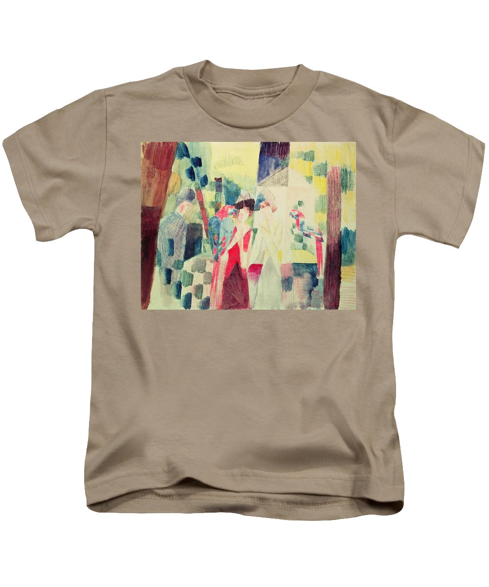 Two Kids T-Shirt featuring the painting Two Women And A Man With Parrots by August Macke