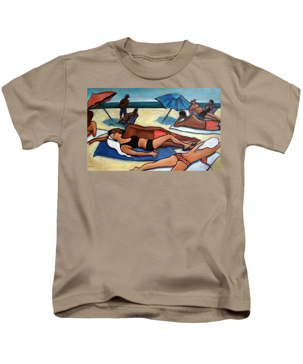 Beach Scene Kids T-Shirt featuring the painting Un Journee A La Plage by Valerie Vescovi