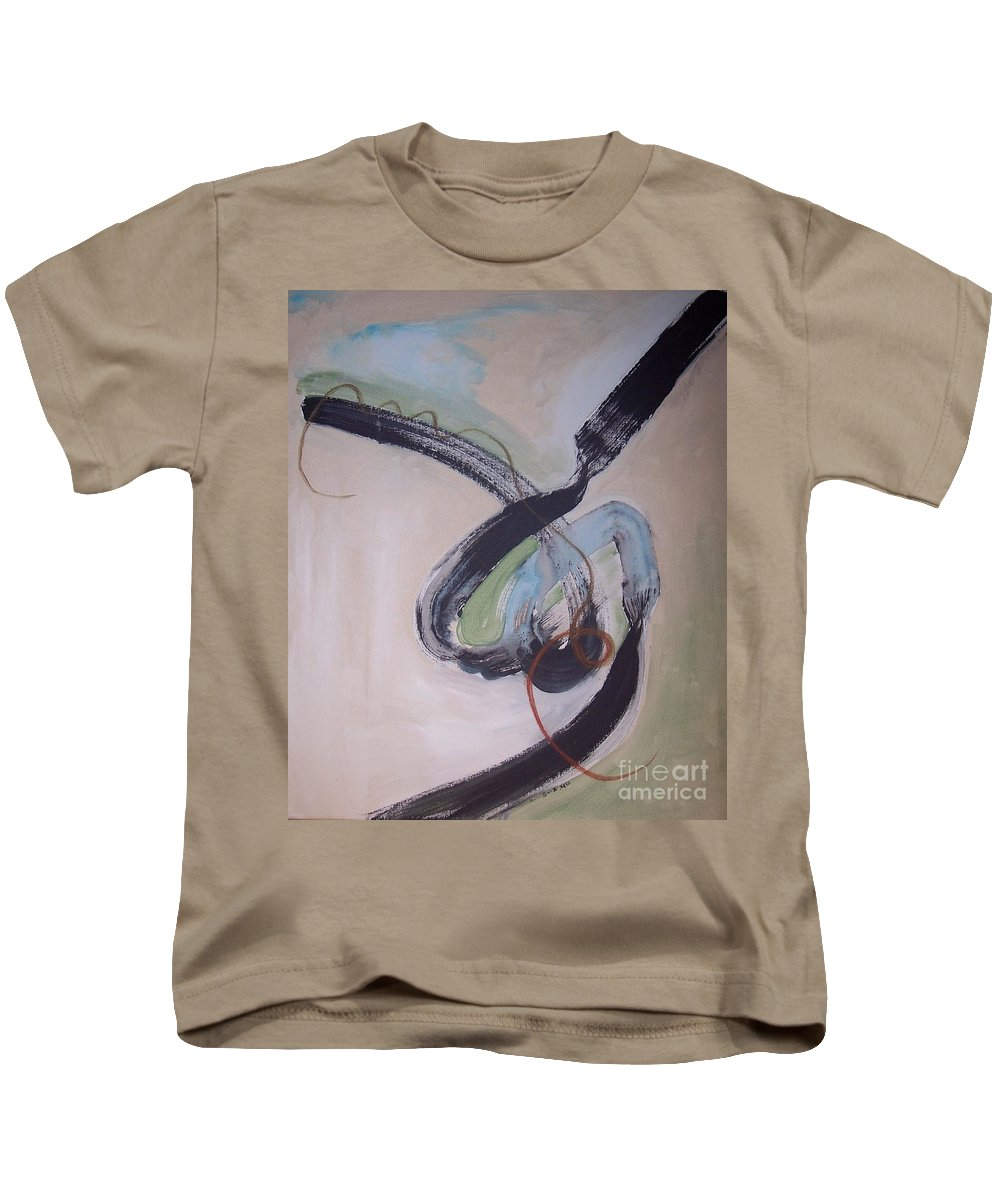 Abstract Paintings Kids T-Shirt featuring the painting Unaccustomed Thought-abstract Art by Seon-Jeong Kim