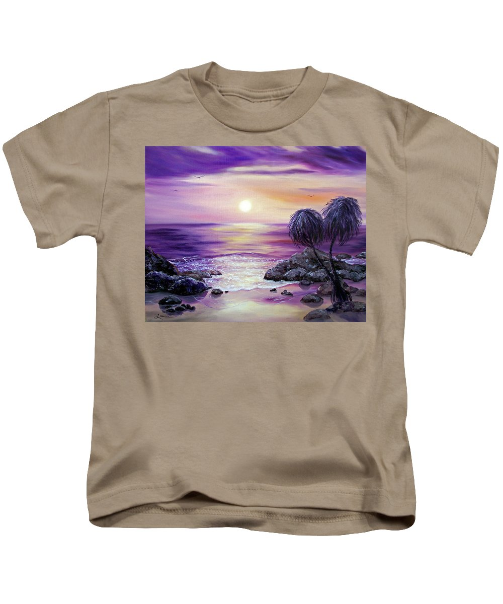 Impressionist Kids T-Shirt featuring the painting Unawatuna Beach At Sunset by Laura Iverson