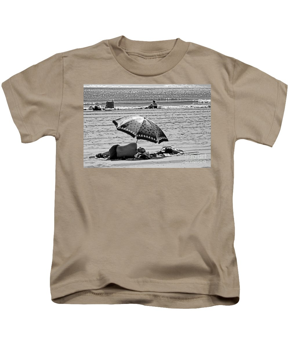 Beach Kids T-Shirt featuring the photograph Under The Umbrella by Madeline Ellis