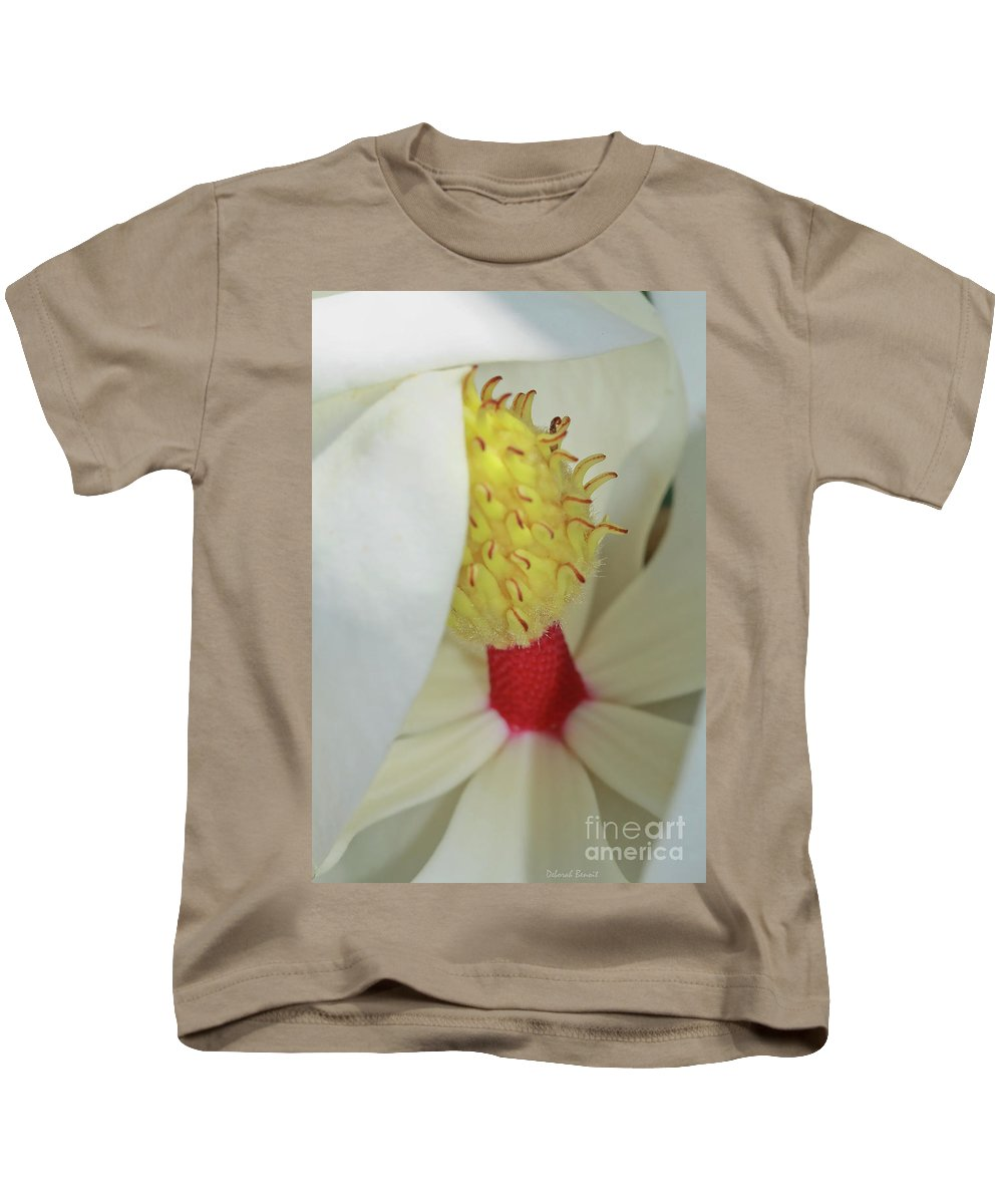 Magnolia Bud Kids T-Shirt featuring the photograph Unfolding Beauty by Deborah Benoit
