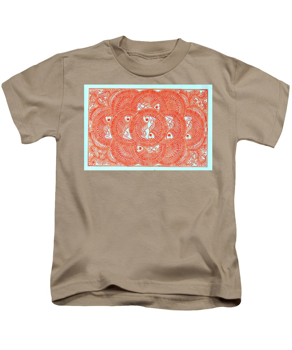 Kids T-Shirt featuring the painting Union Orange by Prerna
