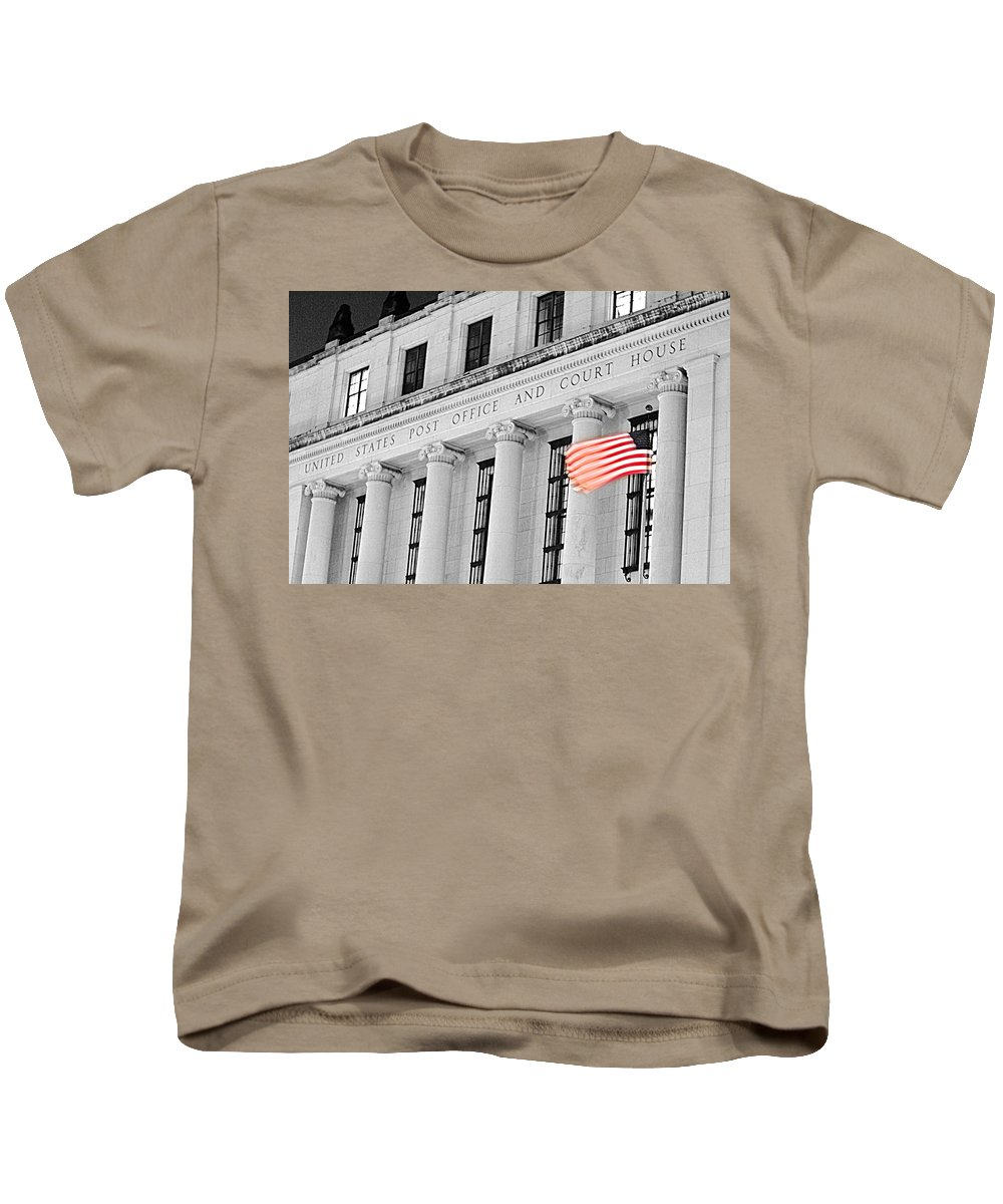 Architecture Kids T-Shirt featuring the photograph United States Flag by Jill Reger