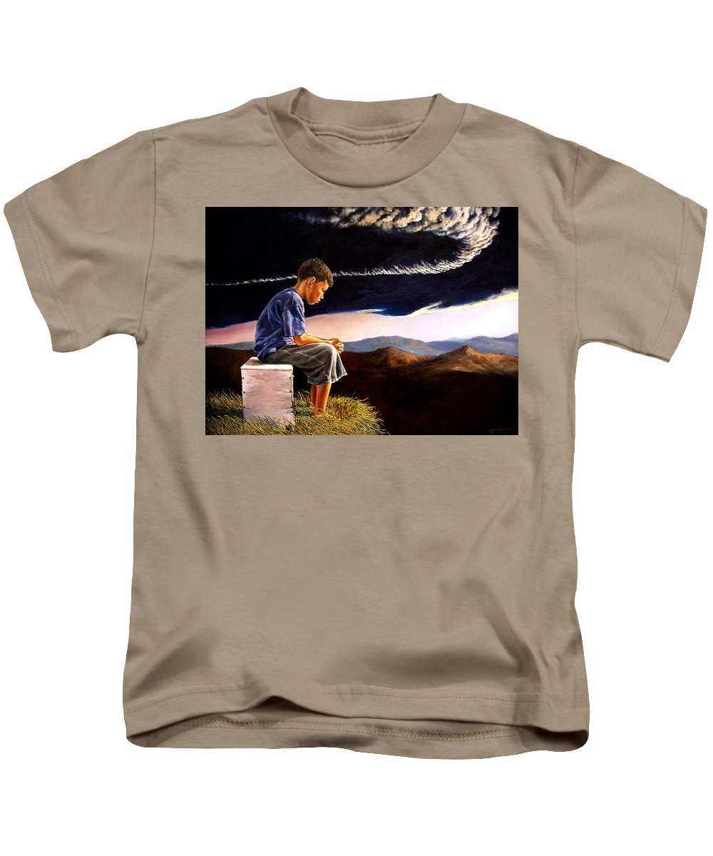 Mountain Kids T-Shirt featuring the painting Unscarred Mountain by Christopher Shellhammer