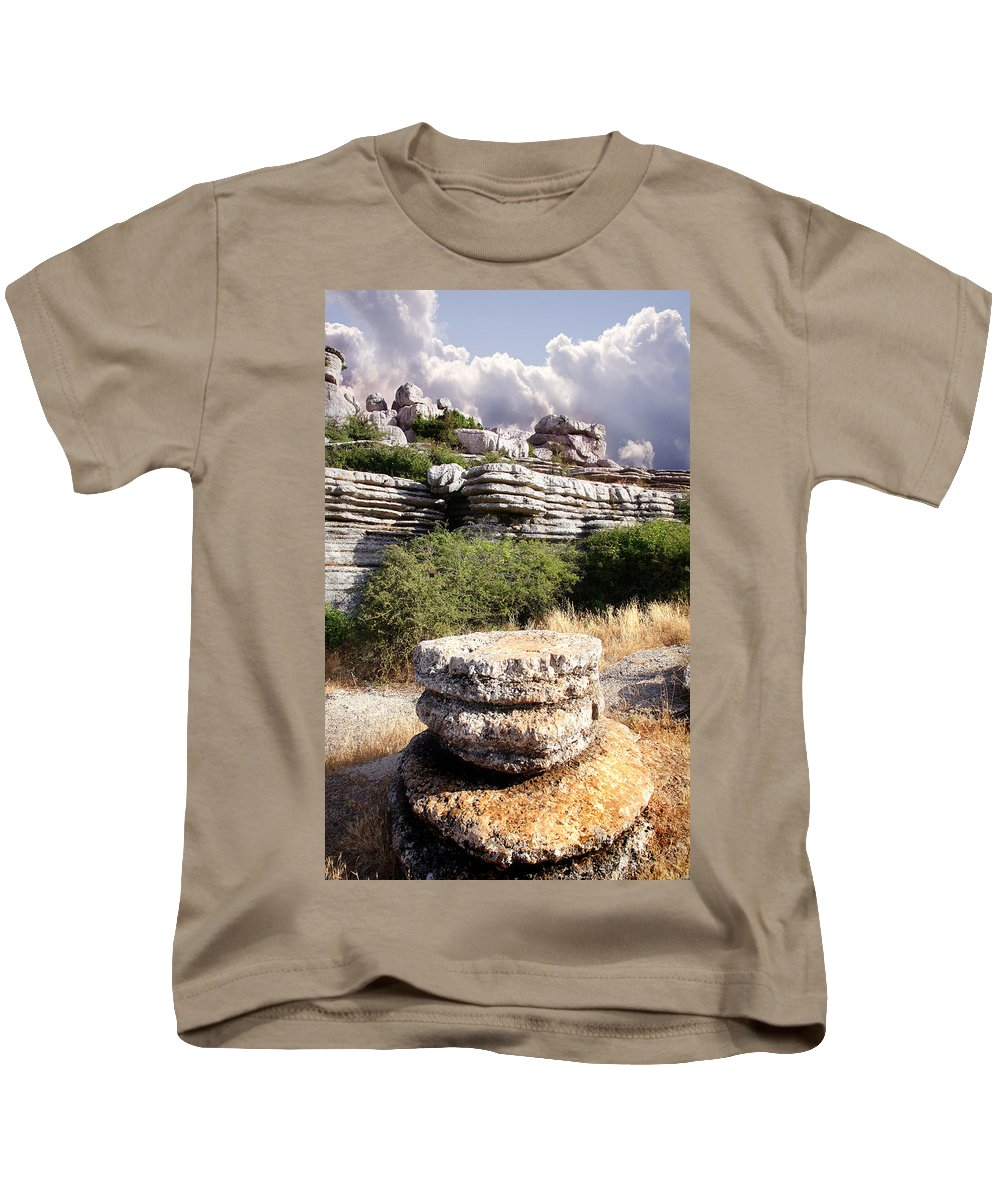 Limestone Kids T-Shirt featuring the photograph Unusual Rock Formations In The El Torcal Mountains Near Antequera Spain by Mal Bray