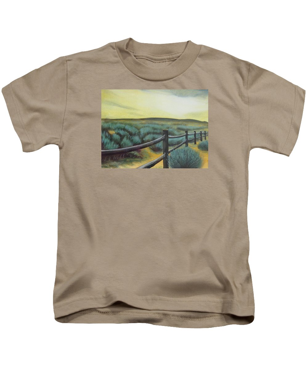 Utah Kids T-Shirt featuring the painting Utah Sunset by Lucy Deane