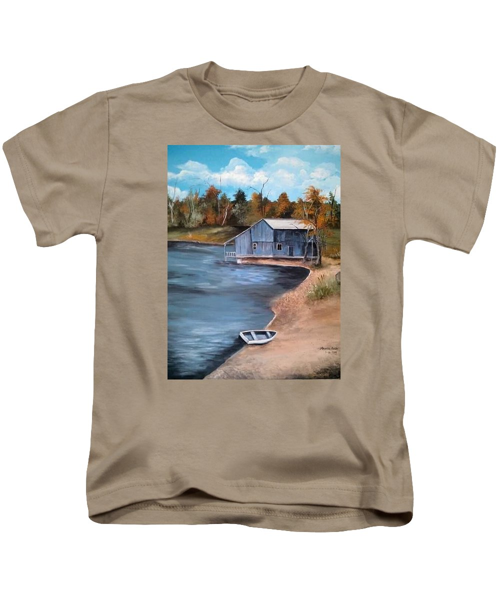 Landscape Kids T-Shirt featuring the painting Vacation Spot by Melissa Young