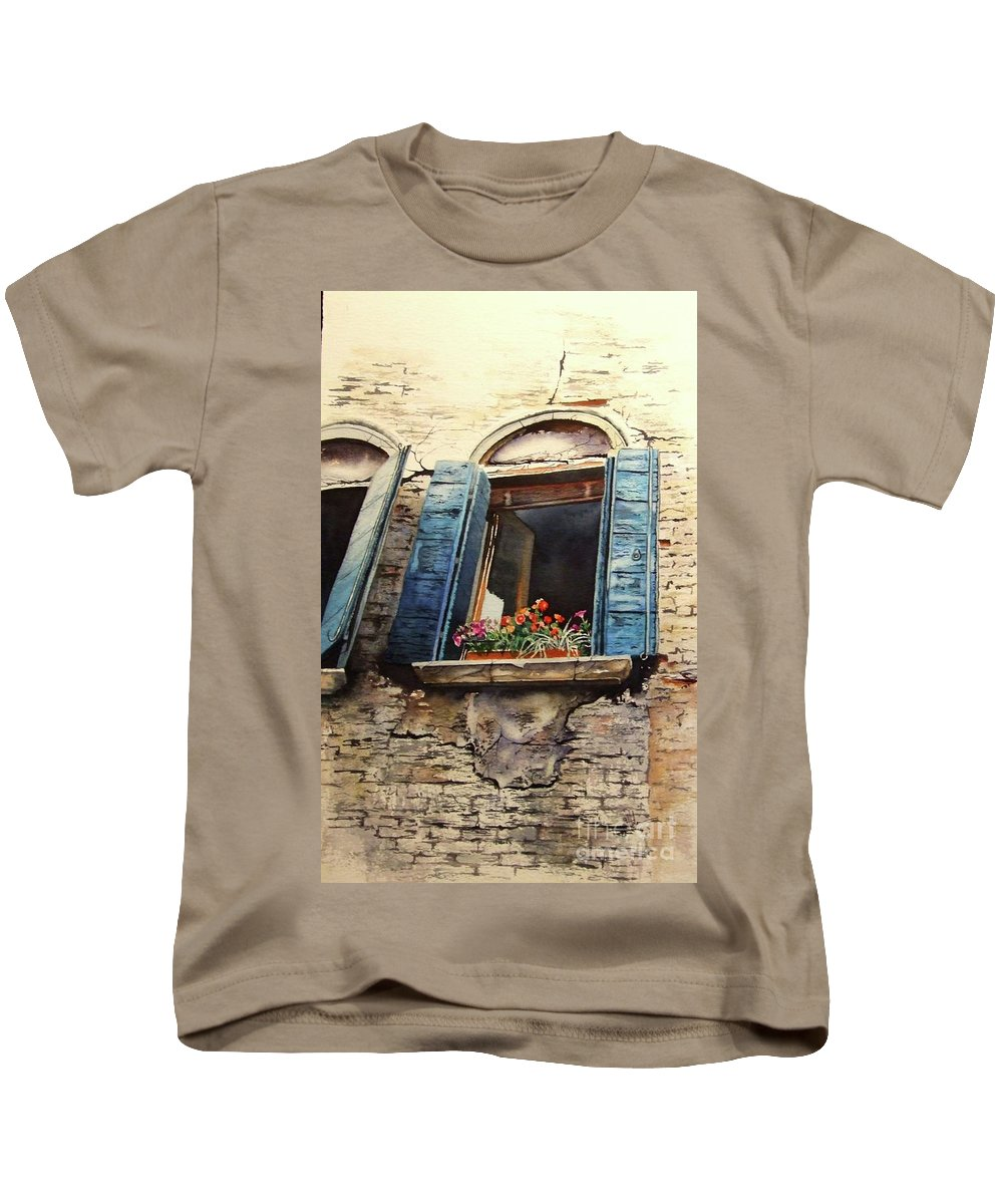Kids T-Shirt featuring the painting Venecia by Greg and Linda Halom