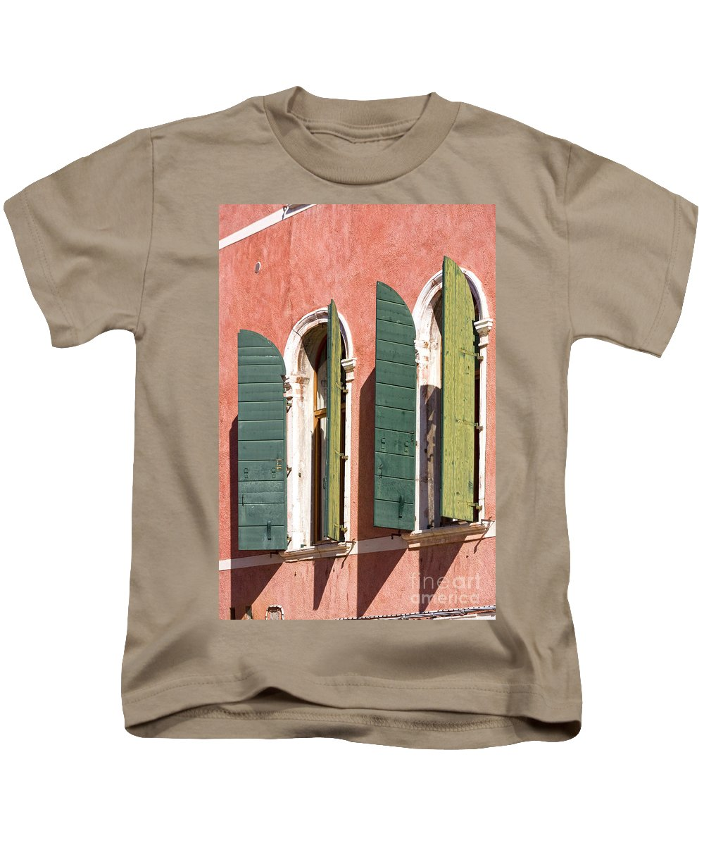 Europe Kids T-Shirt featuring the photograph Venetian Windows by Heiko Koehrer-Wagner