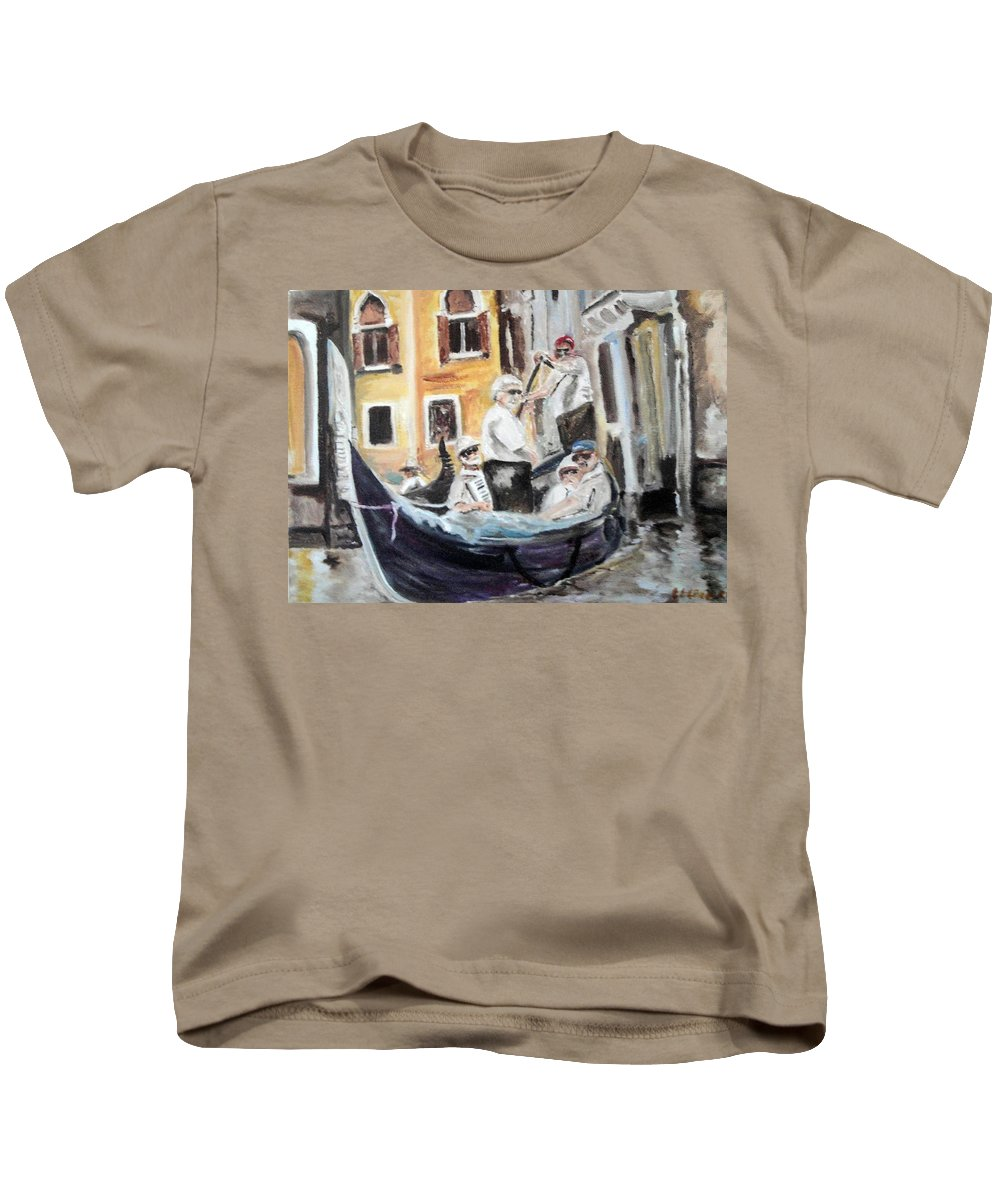 Canal Kids T-Shirt featuring the painting Venice Party by Chuck Gebhardt
