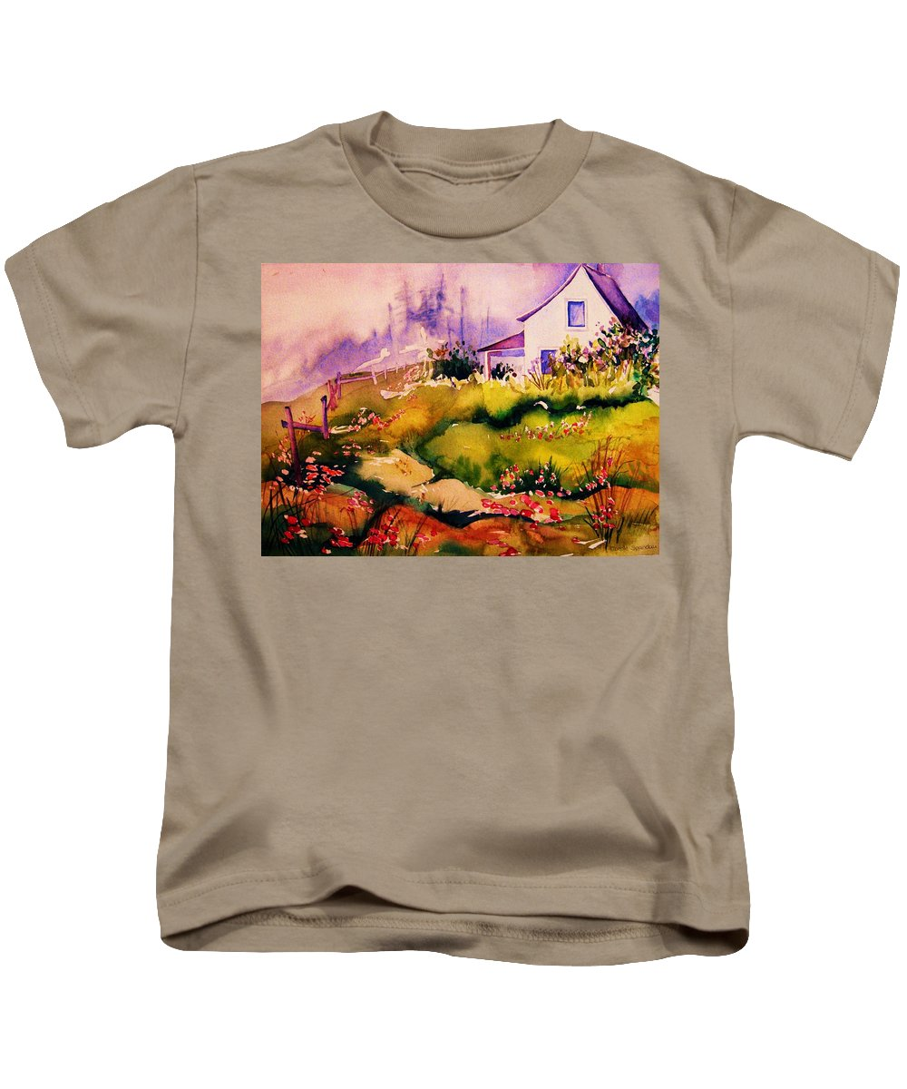 Cottagescenes Kids T-Shirt featuring the painting Vermont Summers by Carole Spandau
