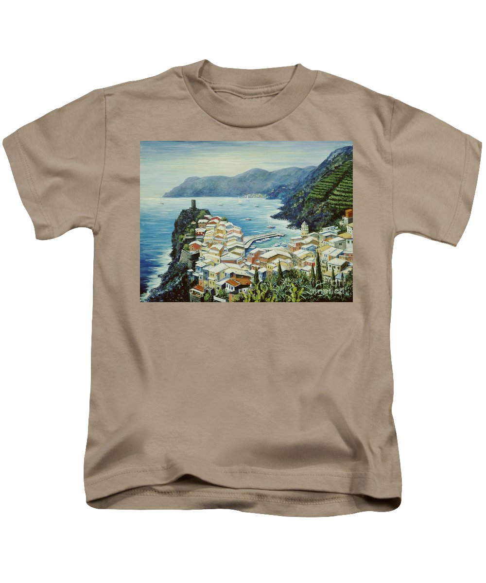 Vernazza Kids T-Shirt featuring the painting Vernazza Cinque Terre Italy by Marilyn Dunlap