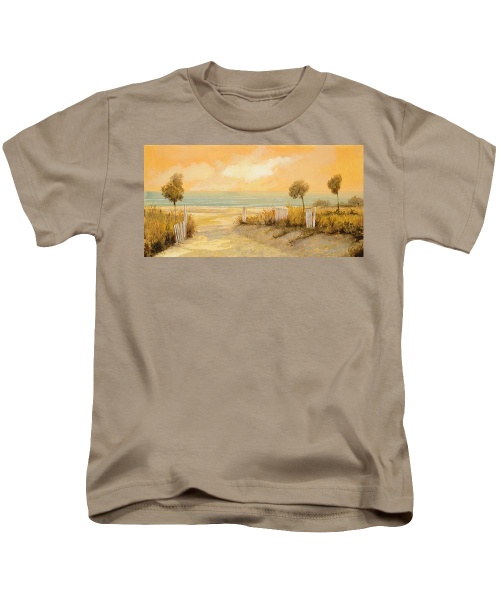 Beach Kids T-Shirt featuring the painting Verso La Spiaggia by Guido Borelli