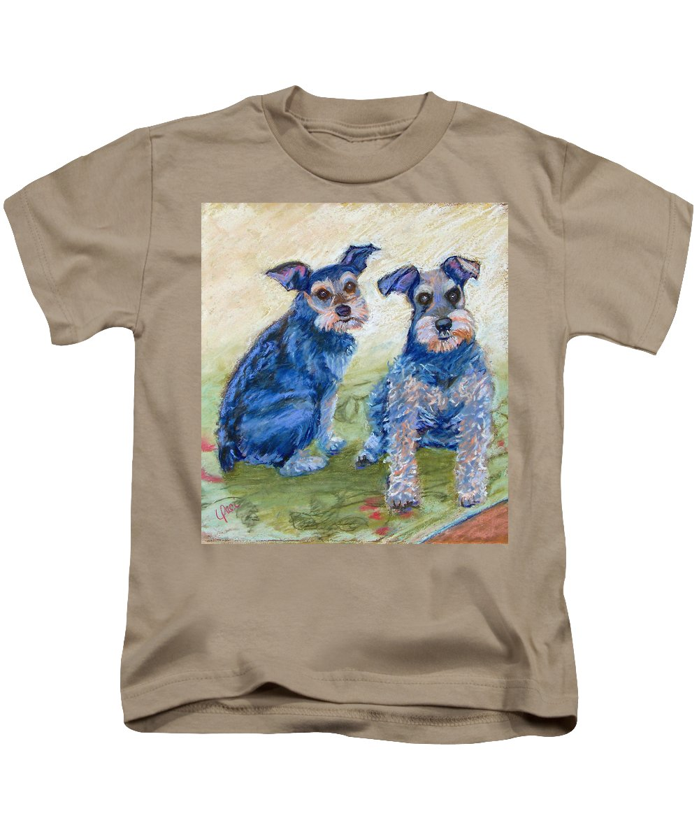 Dogs Kids T-Shirt featuring the painting Vickie's Pups by Laurie Paci
