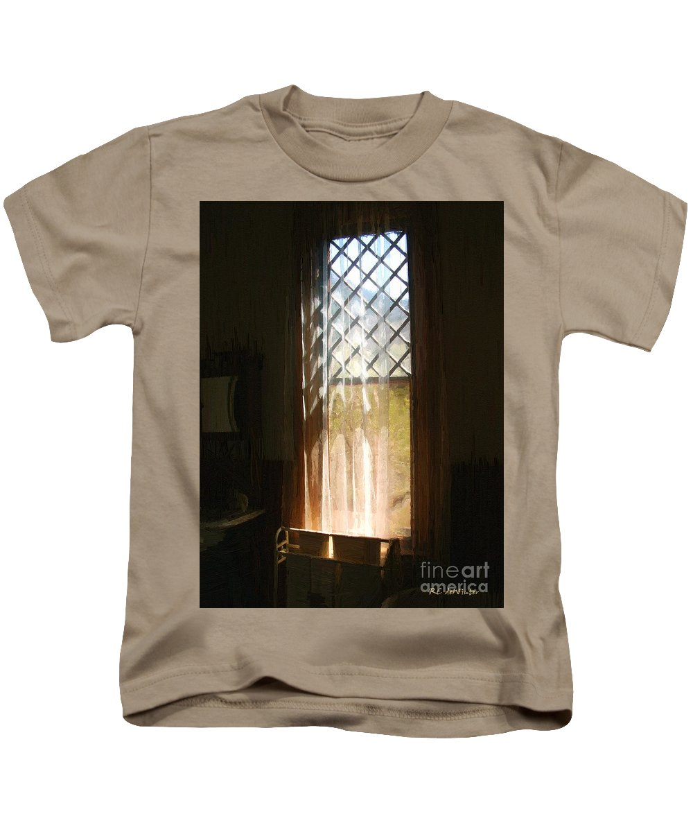 Vintage Kids T-Shirt featuring the painting View From The Bathroom Window by RC DeWinter