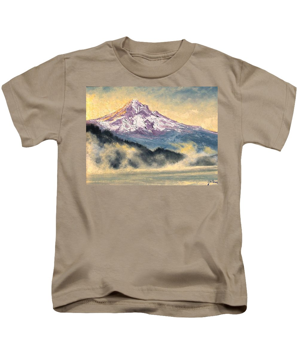 Lanscape Kids T-Shirt featuring the painting View Of Mt Hood by Jim Gola