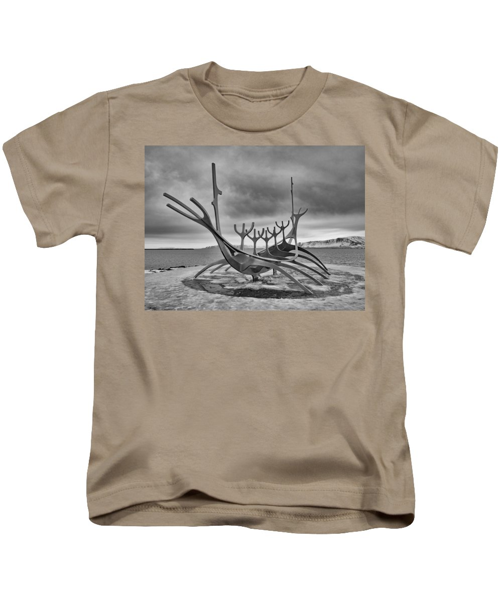 Iceland Kids T-Shirt featuring the photograph Viking Ship Sculpture by Dan Leffel