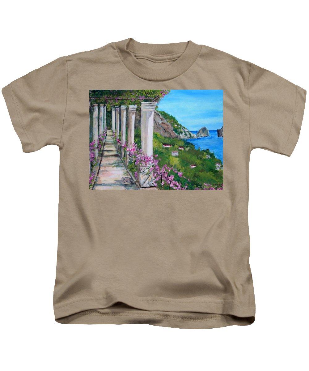 Capri Kids T-Shirt featuring the painting Villa San Michele In Anacapri by Teresa Dominici