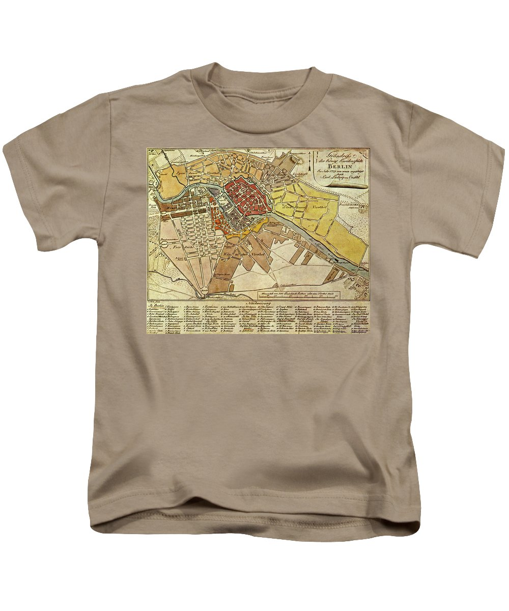 Berlin Kids T-Shirt featuring the drawing Vintage Map Of Berlin Germany - 1789 by CartographyAssociates