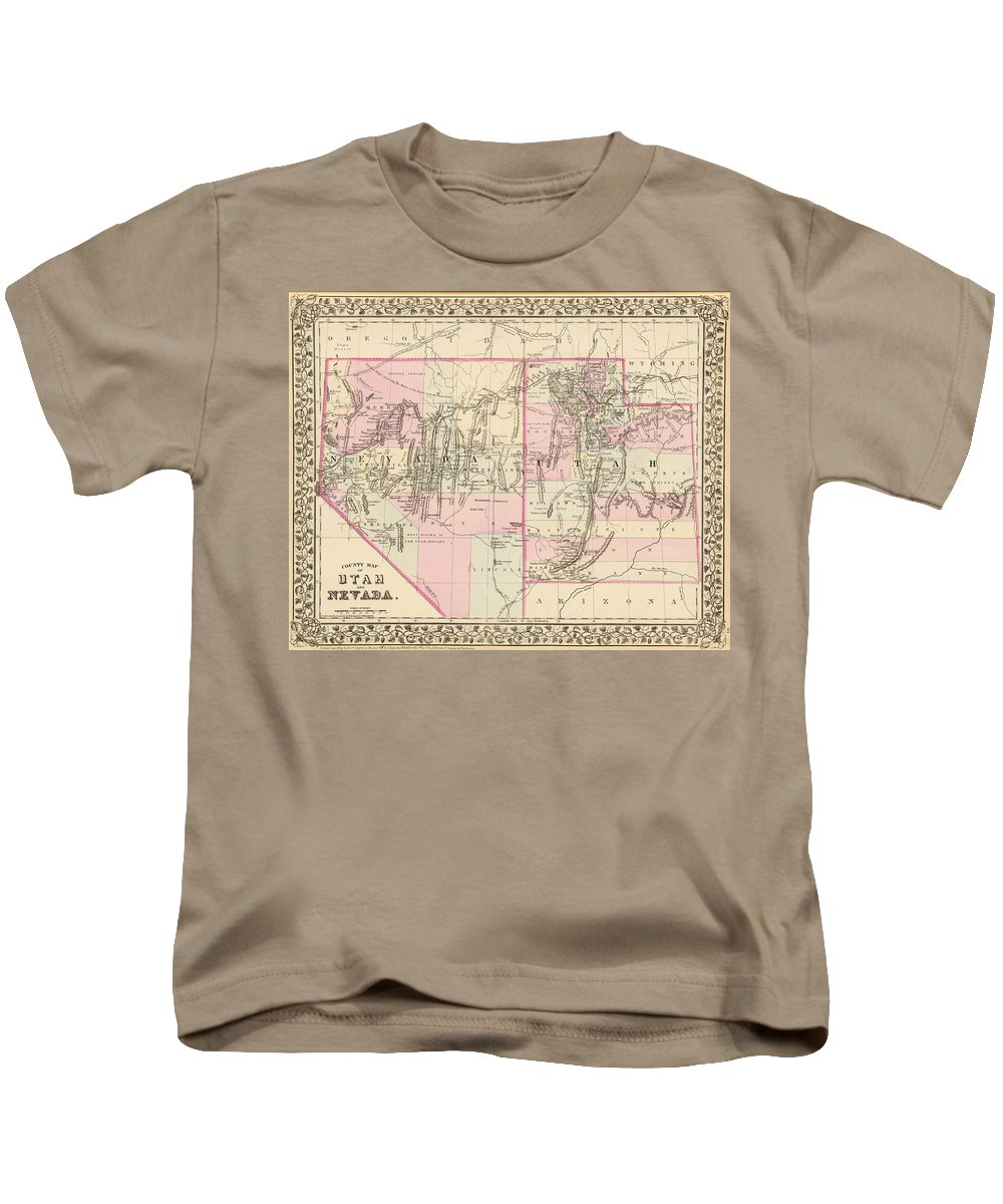 Nevada Kids T-Shirt featuring the drawing Vintage Map Of Nevada And Utah - 1880 by CartographyAssociates