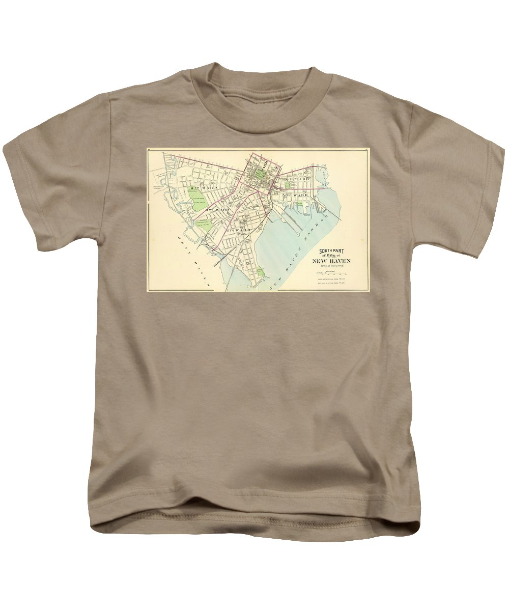 New Haven Kids T-Shirt featuring the drawing Vintage Map Of New Haven Connecticut - 1893 by CartographyAssociates