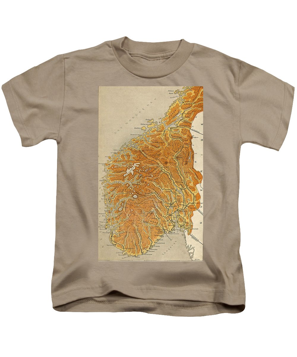 Norway Kids T-Shirt featuring the drawing Vintage Map Of Norway - 1914 by CartographyAssociates