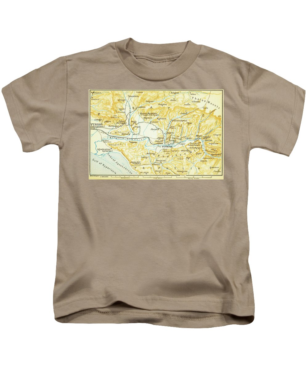 Olympia Kids T-Shirt featuring the drawing Vintage Map Of Olympia Greece - 1894 by CartographyAssociates