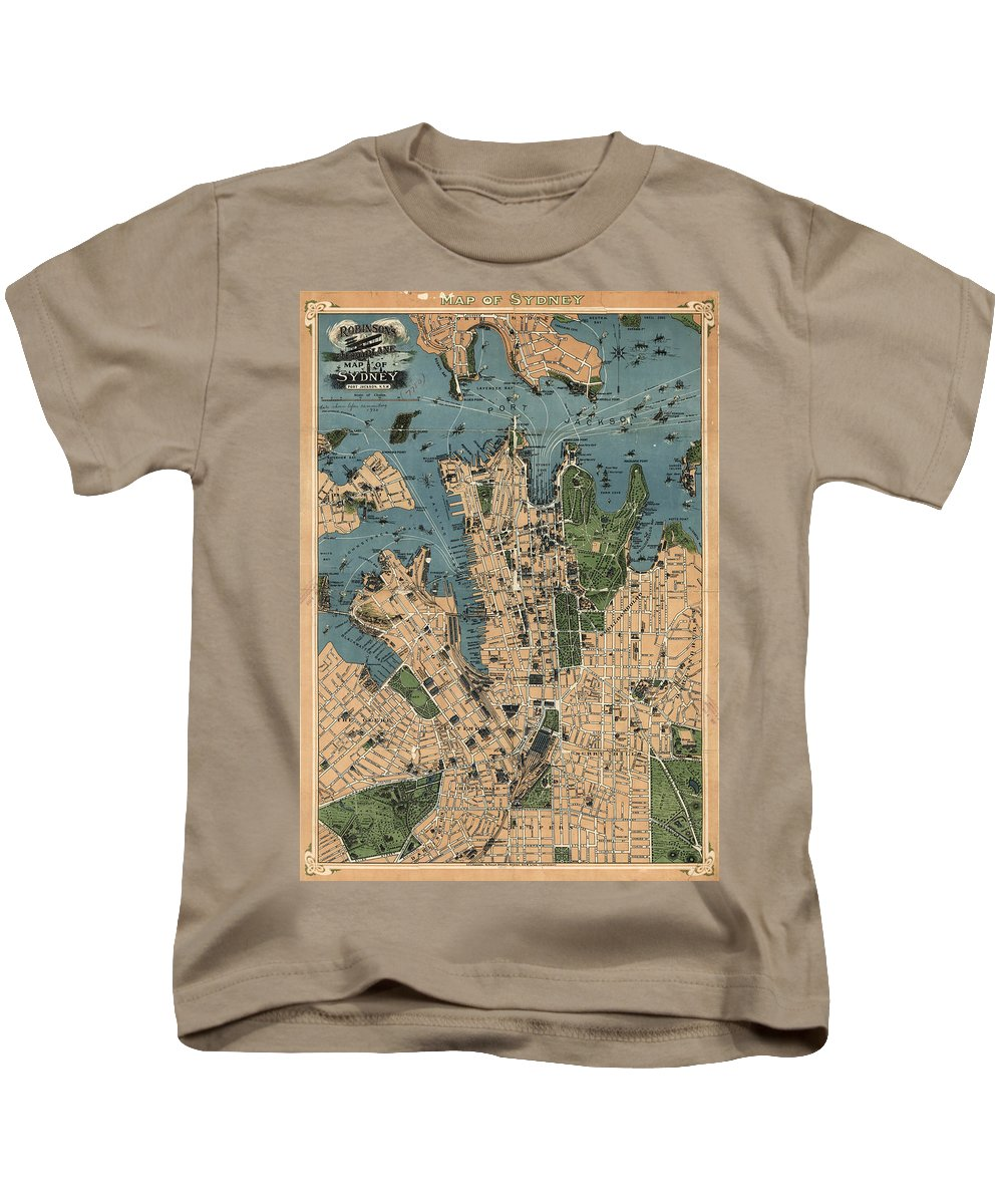 Sydney Kids T-Shirt featuring the drawing Vintage Map Of Sydney Australia - 1922 by CartographyAssociates